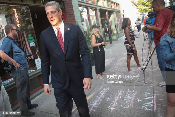 Democratic presidential candidate and Ohio congressman Tim Ryan visits the Oregon District following yesterday's mass shooting on August 05 2019 in...
