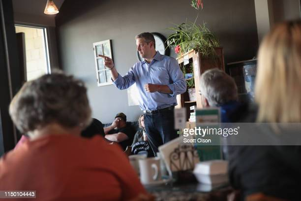 Democratic presidential candidate and Ohio congressman Tim Ryan speaks to guests during a campaign stop hosted by the Woodbury County Democrats at...