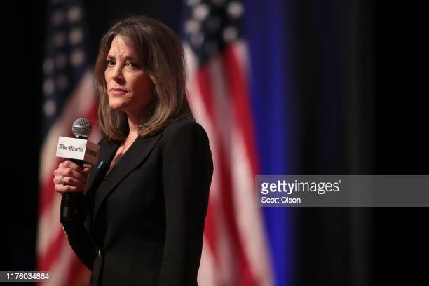 Democratic presidential candidate and self-help author Marianne Williamson speaks at a LGBTQ presidential forum at Coe College's Sinclair Auditorium...