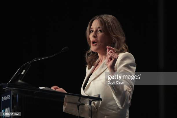 Democratic presidential candidate and self-help author Marianne Williamson speaks at the Iowa Democratic Party's Hall of Fame Dinner on June 9, 2019...