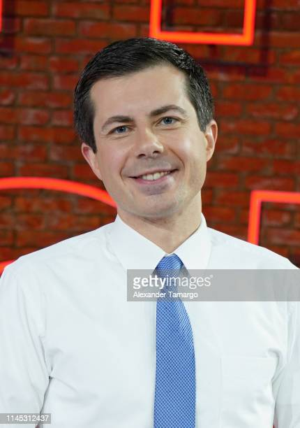 Democratic Presidential Candidate and South Bend Indiana Mayor Pete Buttigieg is seen arriving at Telemundo Center on May 20 2019 in Miami Florida