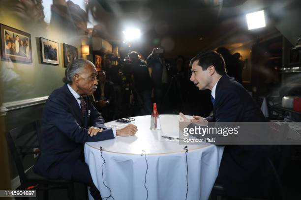 Democratic presidential candidate and South Bend Indiana Mayor Pete Buttigieg meets with Reverend Al Sharpton for lunch at famed Sylvia's Restaurant...