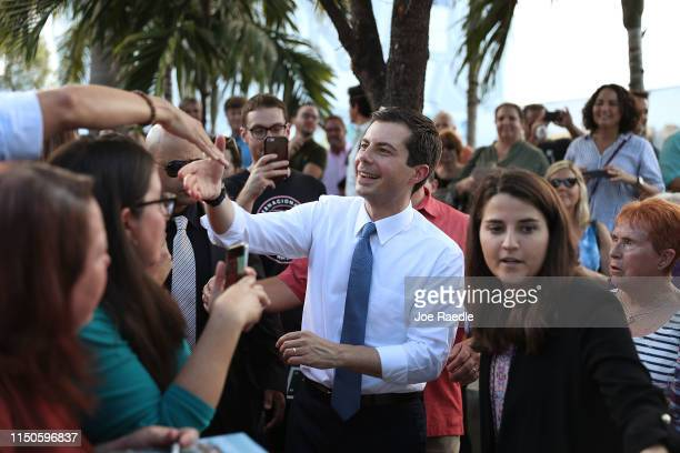 Democratic presidential candidate and South Bend Indiana Mayor Pete Buttigieg greets people during a grassroots fundraiser at the Wynwood Walls on...