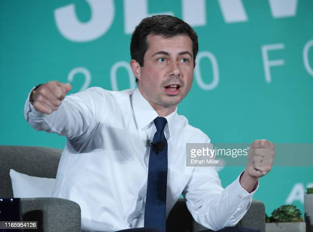 Democratic presidential candidate and South Bend Indiana Mayor Pete Buttigieg speaks during the 2020 Public Service Forum hosted by the American...