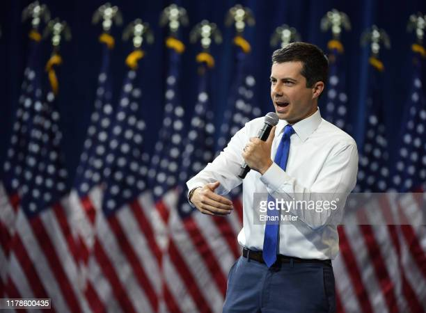 Democratic presidential candidate and South Bend Indiana Mayor Pete Buttigieg speaks during the 2020 Gun Safety Forum hosted by gun control activist...