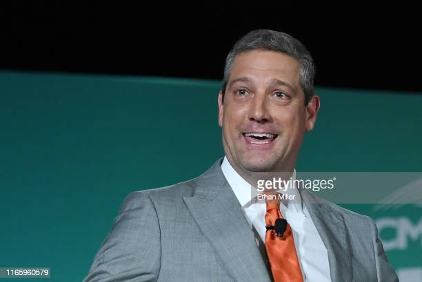 Democratic presidential candidate and US Rep Tim Ryan speaks during the 2020 Public Service Forum hosted by the American Federation of State County...