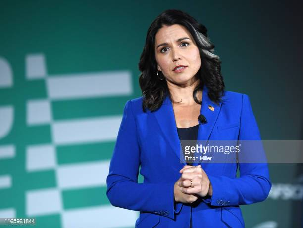 Democratic presidential candidate and US Rep Tulsi Gabbard speaks during the 2020 Public Service Forum hosted by the American Federation of State...