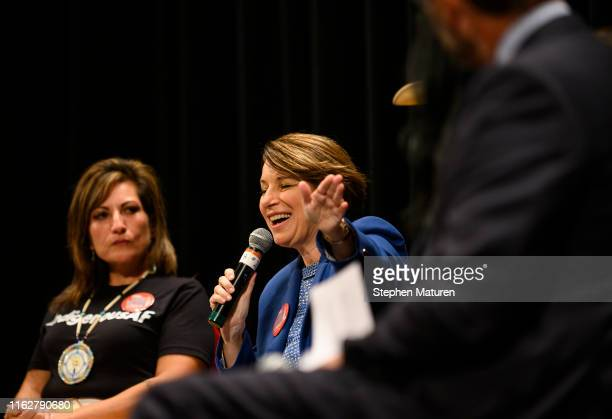 Democratic presidential candidate and US Sen Amy Klobuchar speaks at the Frank LaMere Native American Presidential Forum on August 19 2019 in Sioux...