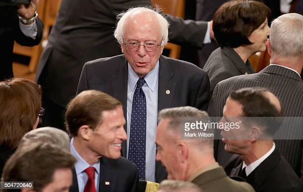 Democratic presidential candidate and US Sen Bernie Sanders arrives before US President Barack Obama delivers the State of the Union speech before...