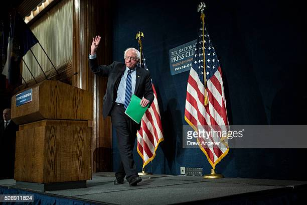 Democratic presidential candidate and U.S. Sen. Bernie Sanders exits the stage after a news conference at the National Press Club, May 1 in...