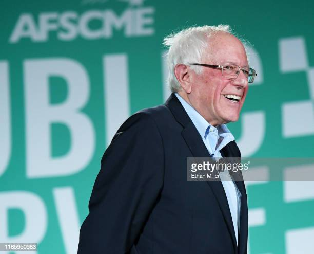 Democratic presidential candidate and US Sen Bernie Sanders laughs during the 2020 Public Service Forum hosted by the American Federation of State...