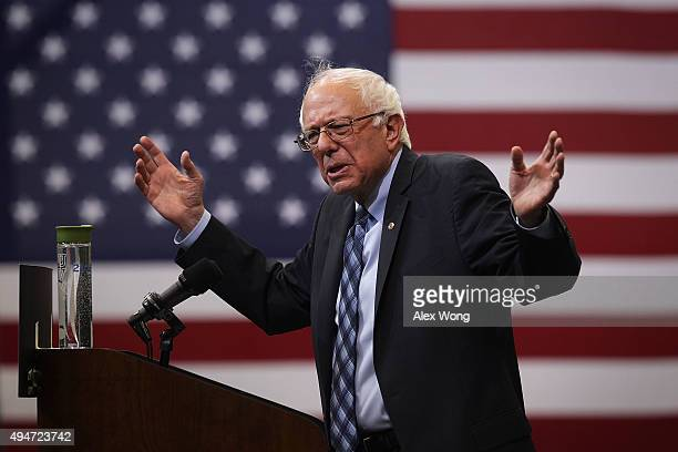 Democratic presidential candidate and US Sen Bernie Sanders speaks during a 'National Student Town Hall' at George Mason University October 28 2015...
