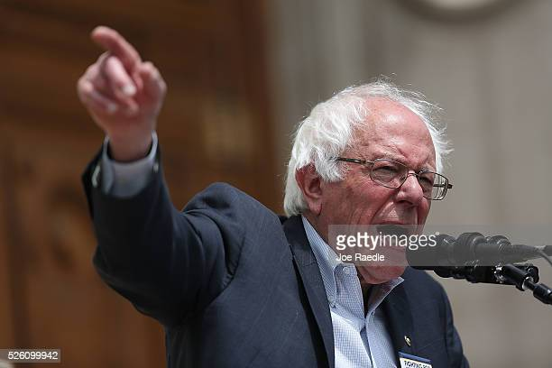 Democratic presidential candidate and US Sen Bernie Sanders speaks during a rally at the Indiana state Capitol on April 29 2016 in Indianapolis...