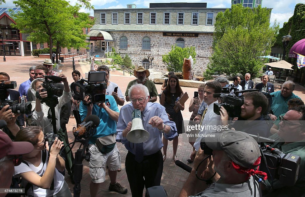 Democratic presidential candidate and U.S. Sen. Bernie Sanders (I-VT) speaks to an overflow crowd through a megaphone after a campaign event at the New England College May 27, 2015 in Concord, New Hampshire. Sanders officially declared his candidacy yesterday and will run as a Democrat in the presidential election and is former Secretary of State Hillary Clinton's first challenger for the Democratic nomination.