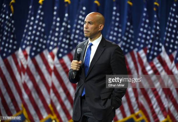 Democratic presidential candidate and US Sen Cory Booker listens to a question from an audience member during the 2020 Gun Safety Forum hosted by gun...