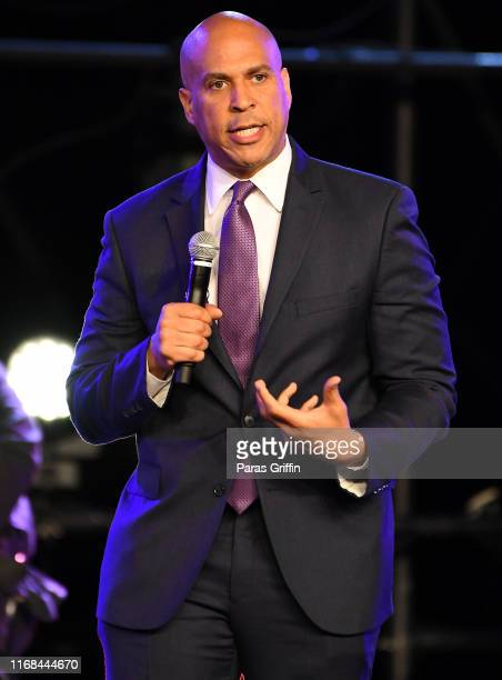Democratic presidential candidate and US Sen Cory Booker speaks on stage during Young Leaders Conference 2019 2020 Presidential Candidates Forum at...