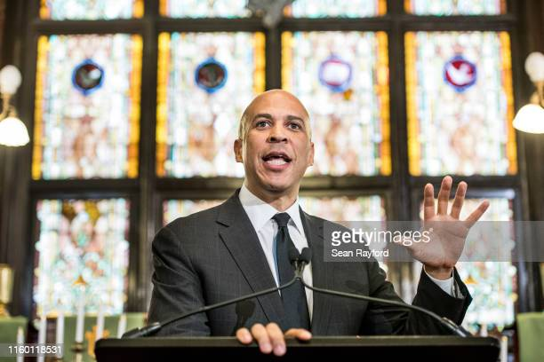 Democratic presidential candidate and U.S. Sen. Cory Booker speaks to a crowd about gun violence and white nationalism at Emanuel AME Church August...