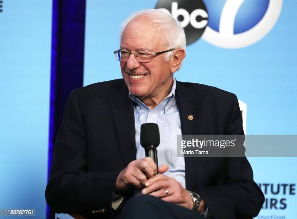 Democratic presidential candidate and US Senator Bernie Sanders smiles at a Democratic presidential forum on Latino issues at Cal State LA on...