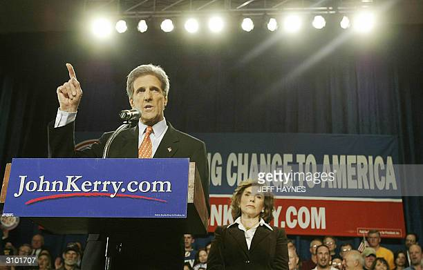 Democratic presidential candidate and US Senator John Kerry of Massachusetts addresses a rally with his Teresa Heinz-Kerry in the background at the...