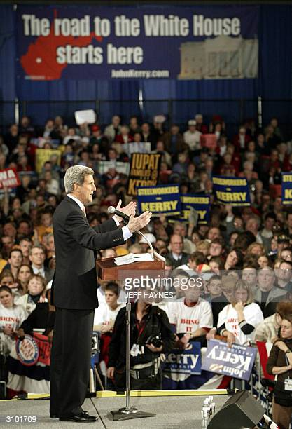 Democratic presidential candidate and US Senator John Kerry of Massachusetts addresses a rally at the Charleston Civic Center 16 March, 2004 in...