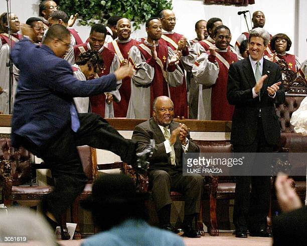 Democratic presidential candidate and US Senator John Kerry of Massacusetts attends Sunday service with US Representative Bennie Thompson DMS at the...