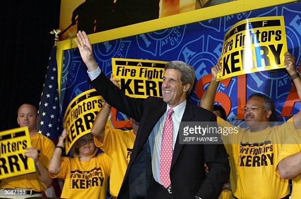 Democratic presidential candidate and US Senator John Kerry of Massachusetts greets the International Association of Fire Fighters Legislative...