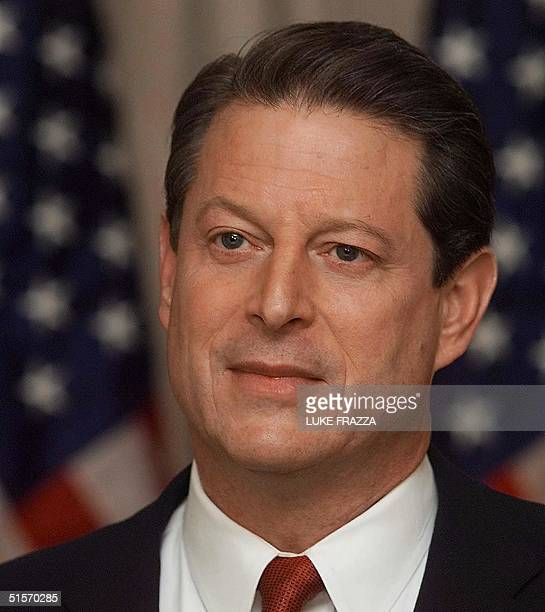 Democratic presidential candidate and US Vice President Al Gore addresses the nation on television 27 November 2000 from his residence in Washington...