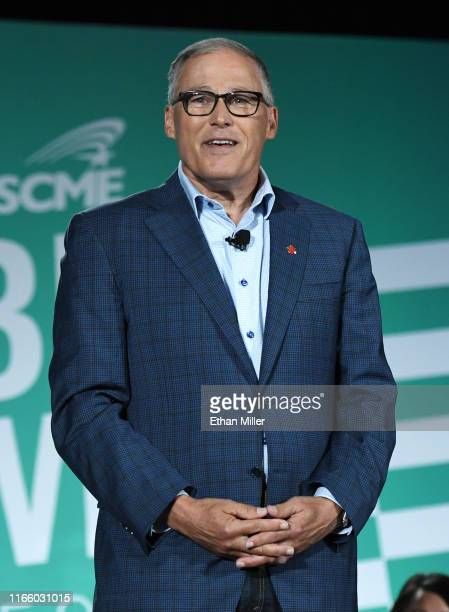 Democratic presidential candidate and Washington Gov Jay Inslee speaks during the 2020 Public Service Forum hosted by the American Federation of...