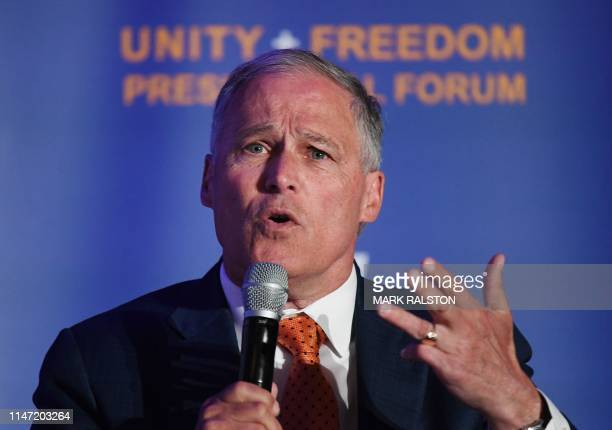 Democratic presidential candidate and Washington Governor Jay Inslee addresses Immigrantrights organizations at the 'Unity Freedom Presidential...