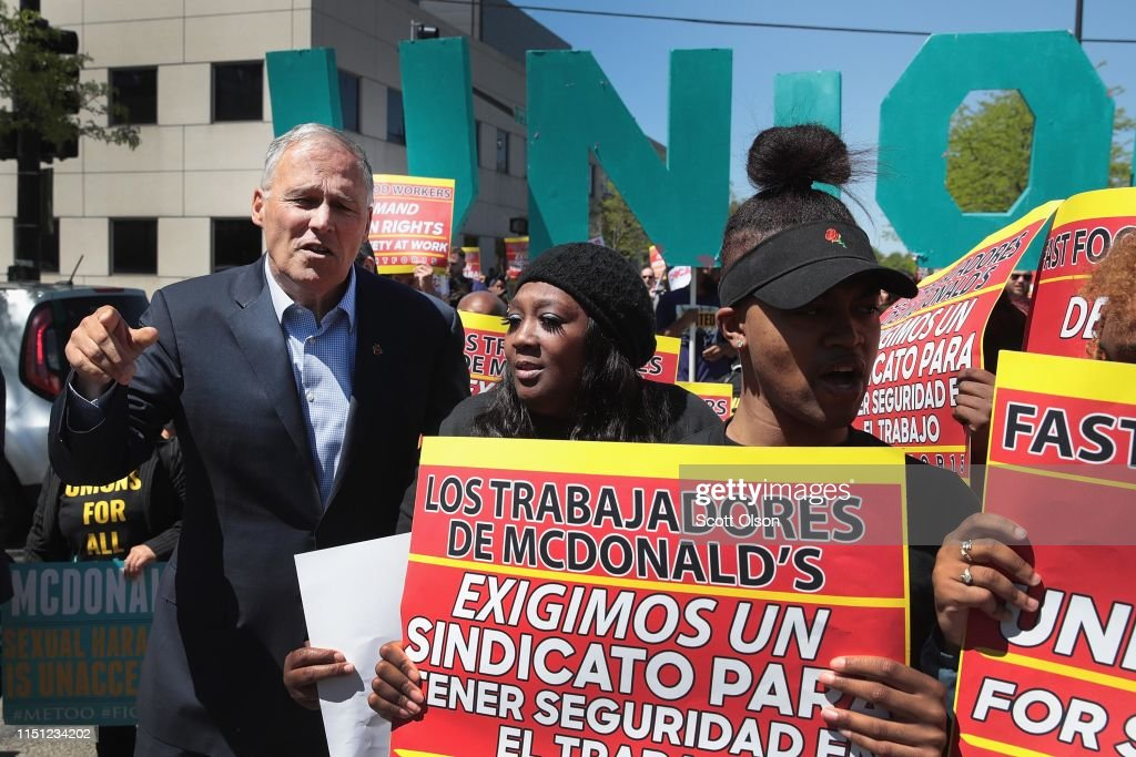 IL: Democratic Presidential Candidate Jay Inslee Joins Striking McDonalds Workers In Chicago