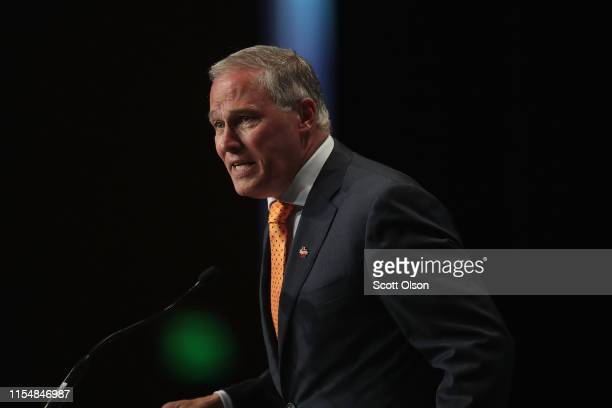 Democratic presidential candidate and Washington governor Jay Inslee speaks at the Iowa Democratic Party's Hall of Fame Dinner on June 9 2019 in...