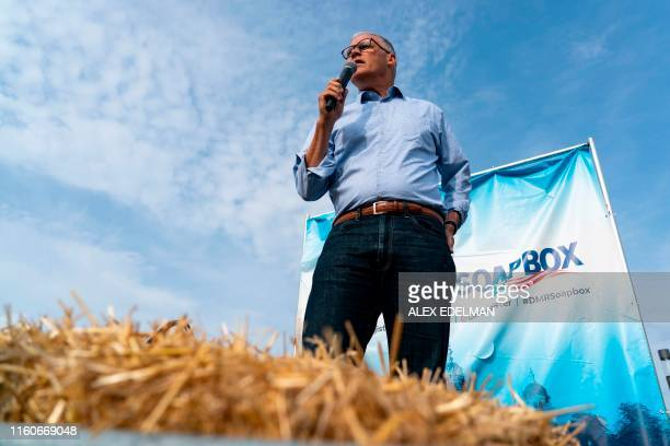Democratic presidential candidate and Washington Governor Jay Inslee speaks at the Des Moines Register Political Soapbox during the Iowa State Fair...