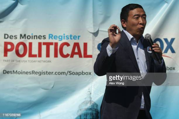 Democratic presidential candidate Andrew Yang delivers campaign speech at the Des Moines Register Political Soapbox at the Iowa State Fair on August...