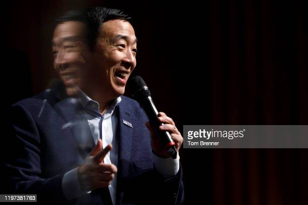 Democratic presidential candidate Andrew Yang delivers remarks during a campaign event at the University of Iowa on January 29, 2020 in Iowa City,...
