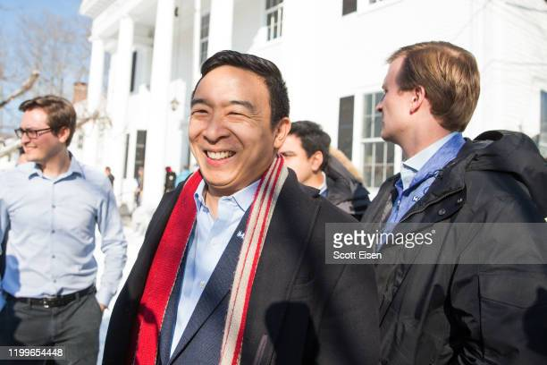 Democratic presidential candidate Andrew Yang exits Hopkinton Town Hall following a campaign event on February 9, 2020 in Hopkinton, New Hampshire....