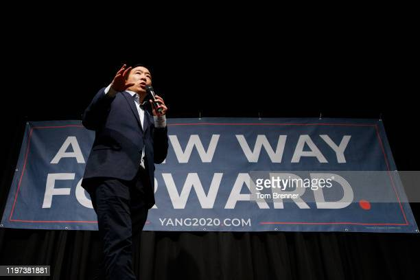 Democratic presidential candidate Andrew Yang hosts a campaign event at the University of Iowa on January 29, 2020 in Iowa City, Iowa. Iowa's...