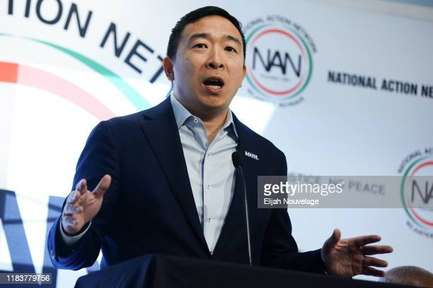 Democratic presidential candidate Andrew Yang speaks at the National Action Networks Southeast Regional Conference on November 21, 2019 in Atlanta,...
