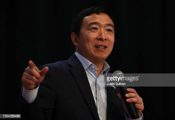 Democratic presidential candidate Andrew Yang speaks during a campaign event on February 05, 2020 in Milford, New Hampshire. With one week to go...