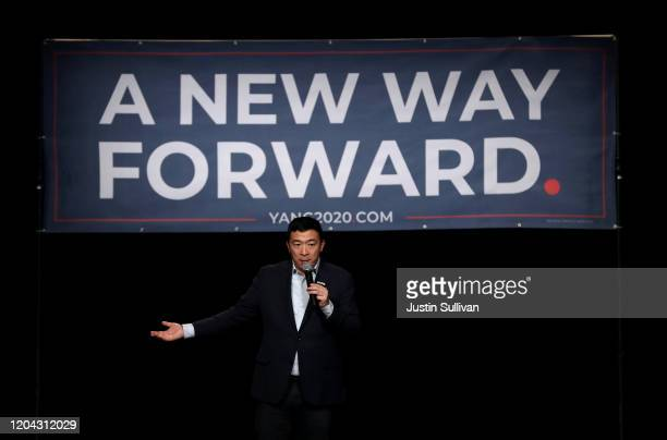 Democratic presidential candidate Andrew Yang speaks during a campaign event on February 05, 2020 in Keene, New Hampshire. With one week to go before...