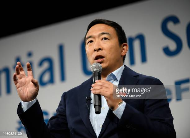 Democratic presidential candidate Andrew Yang speaks during a forum on gun safety at the Iowa Events Center on August 10, 2019 in Des Moines, Iowa....