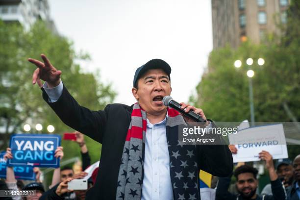 Democratic presidential candidate Andrew Yang speaks during a rally in Washington Square Park, May 14, 2019 in New York City. One of Yangs major...