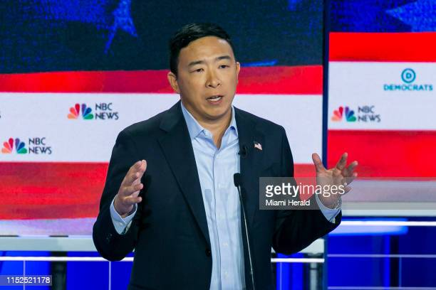 Democratic presidential candidate Andrew Yang speaks during the second night of the first Democratic presidential debate on Thursday June 27 at the...
