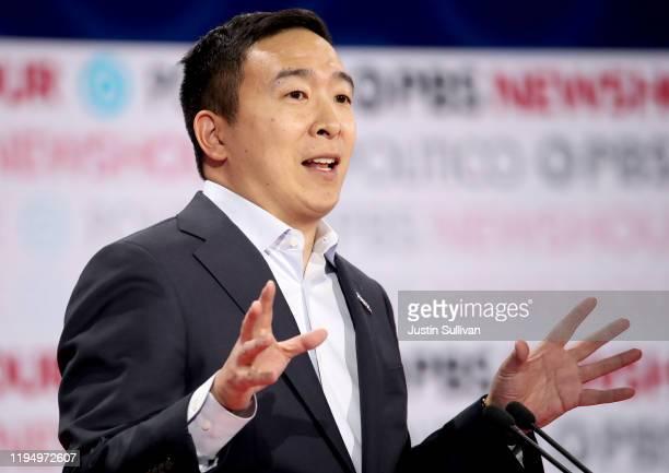 Democratic presidential candidate Andrew Yang speaks during the Democratic presidential primary debate at Loyola Marymount University on December 19,...