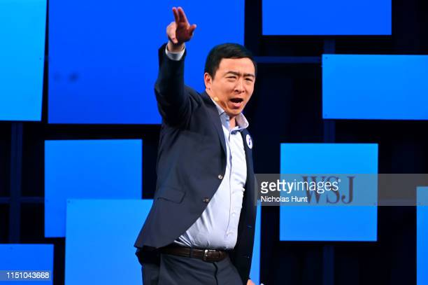 """Democratic Presidential Candidate, Andrew Yang speaks onstage at The Wall Street Journal's """"The Future of Everything Festival"""" at Spring Studios on..."""