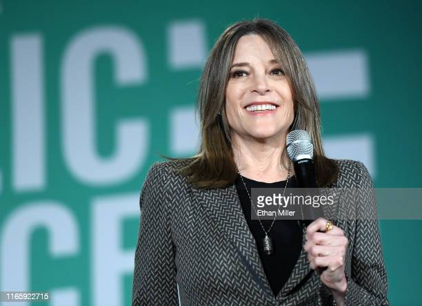 Democratic presidential candidate, author Marianne Williamson speaks during the 2020 Public Service Forum hosted by the American Federation of State,...