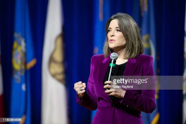 Democratic presidential candidate, author Marianne Williamson addresses the audience at the Environmental Justice Presidential Candidate Forum at...