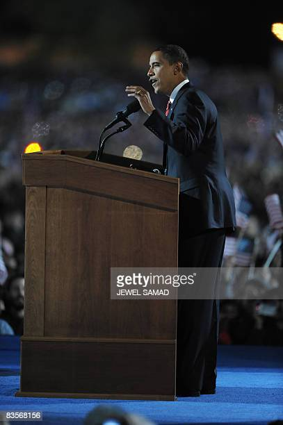 Democratic presidential candidate Barack Obama addresses supporters during his election night rally at Grant Park on November 4 2008 in Chicago...