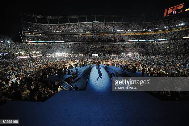 Democratic Presidential candidate Barack Obama addresses the audience at the Democratic National Convention 2008 at the Invesco Field in Denver...
