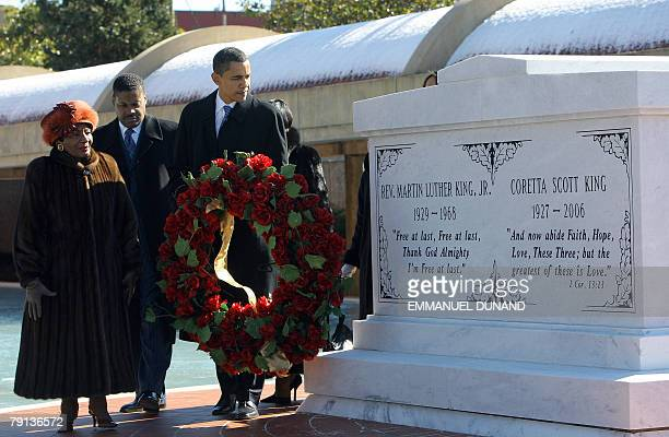 US Democratic presidential candidate Barack Obama and Christine Luther King Martin Luther King Jr's sister lay a wreath at the tomb of the Martin...
