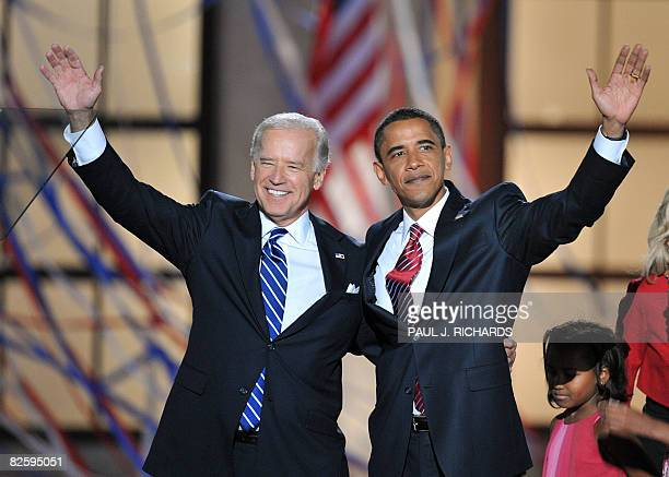 Democratic Presidential candidate Barack Obama and Vice Presidential candidate Joe Biden appear on stage at the end of the Democratic National...